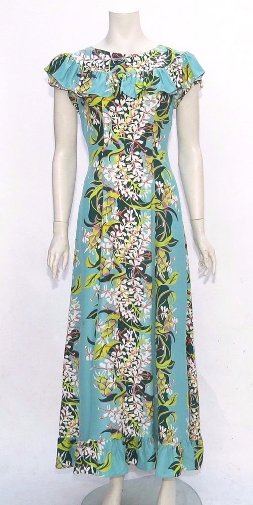 78b840610442 Vintage 40s KAMEHAMEHA Hawaiian Dress RAYON Floral Ruffle Hawaii Maxi Party  s m  Hawaiian  Maxi