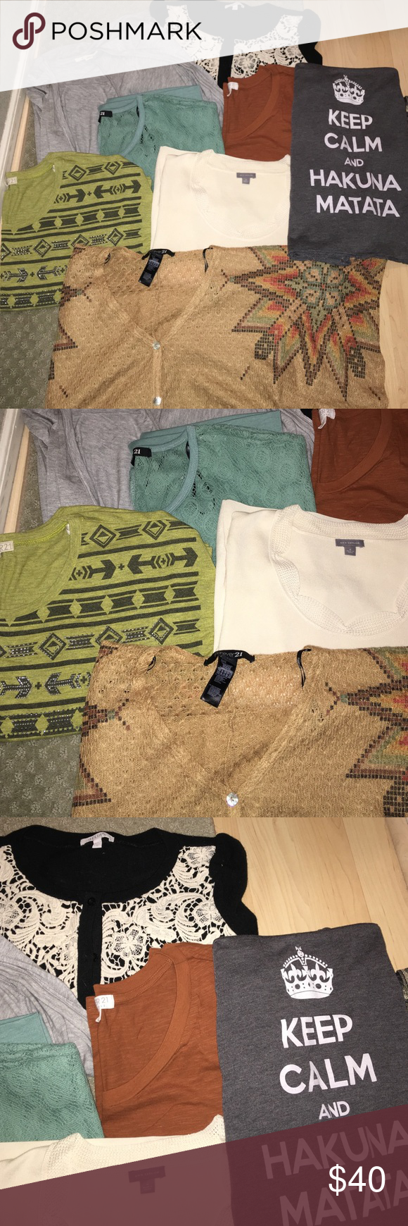 BUNDLE OF 8 ITEMS An assortment of tshirts, tanktops, sweaters/cardigans ALL SIZE MEDIUM. Brands range (Forever21, Ann Taylor, Delia's, Bella) Selling the bundle together!! NO DAMAGE DONE TO ANY OF THE ITEMS Tops