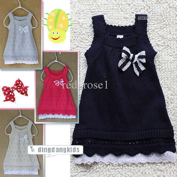Wholesale Girls tank tops dresses new style Sweaters Pretty bow cotton lineTank Dresses..Children clothes, Free shipping, $10.45-11.97/Piece | DHgate