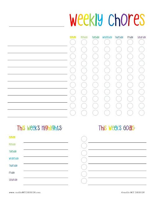 photograph relating to Printable Goal Chart named Cost-free Printable: Weekly Chore and Intent Chart as a result of mollie MY