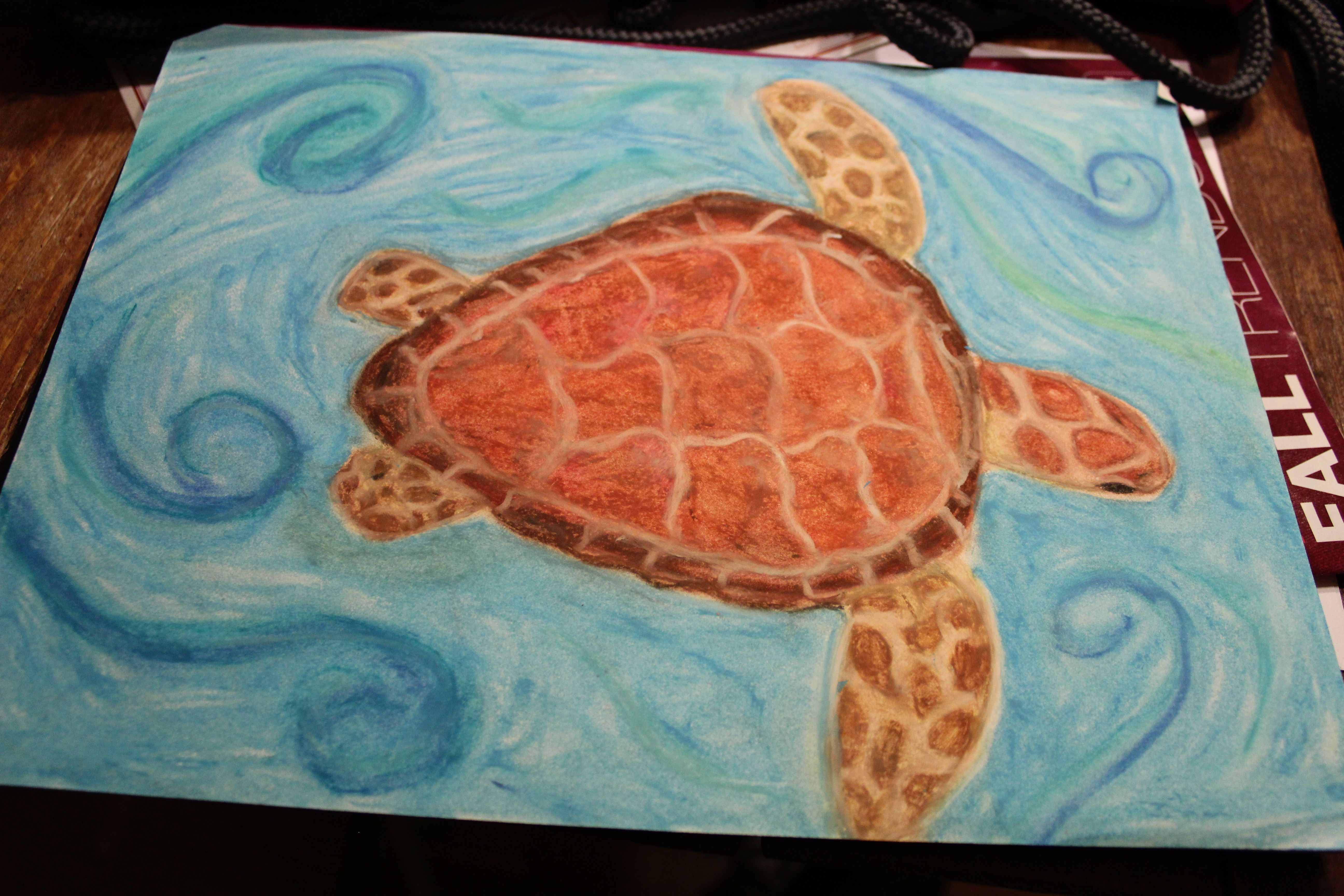 Sea turtle oil pastel.