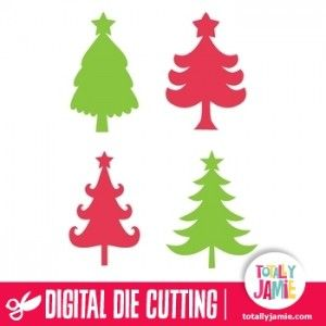 Let these whimsical assorted christmas trees inspire your newest paper holiday projects! Digital die cutting files are designed specifically...