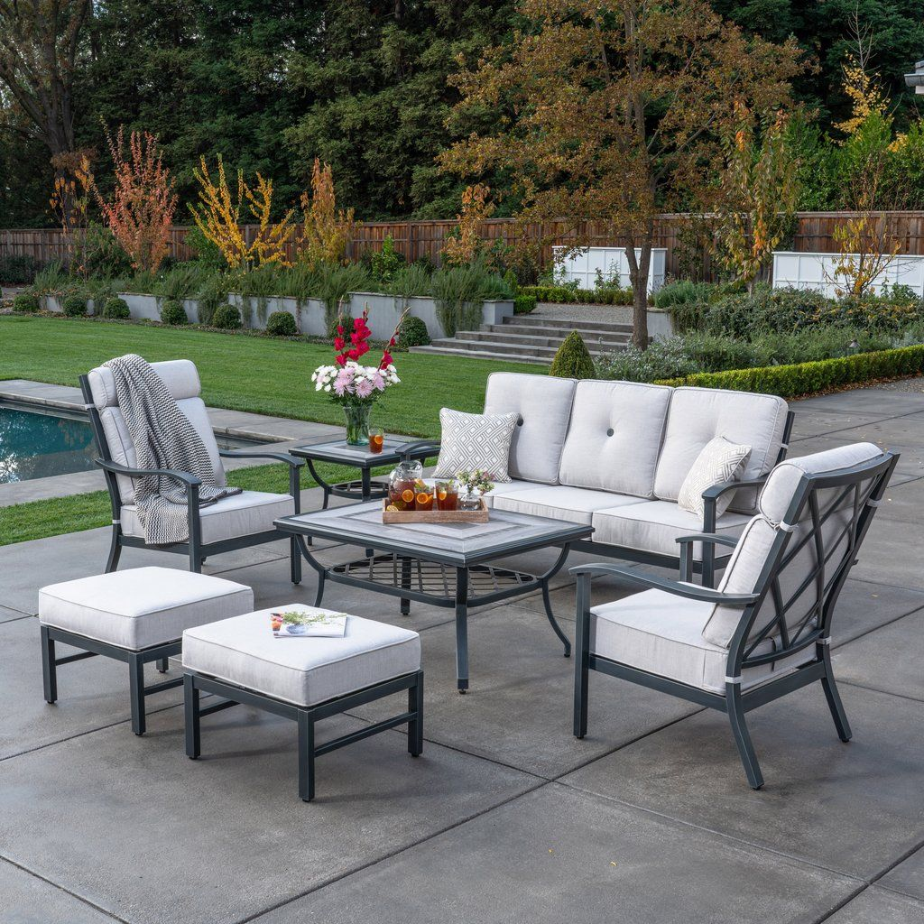 Host A Large Gathering Of Family And Friends With The Indigo 9 Piece Dining Set By Sunvilla Padded Patio Table Set Outdoor Tables And Chairs Tile Patio Table