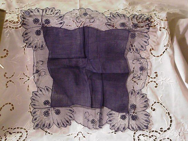 Vintage Austrian Pure Linen Handkerchief w Cotton Lace, Navy Blue