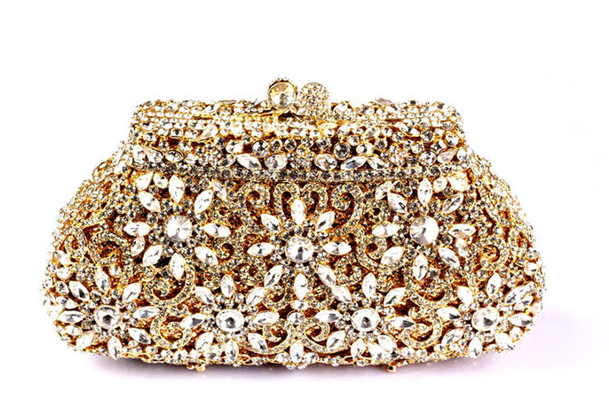 7cd24a2525 Luxury Dazzling Rhinestone Wedding Clutch Flower Hollow Cut Crystal ...