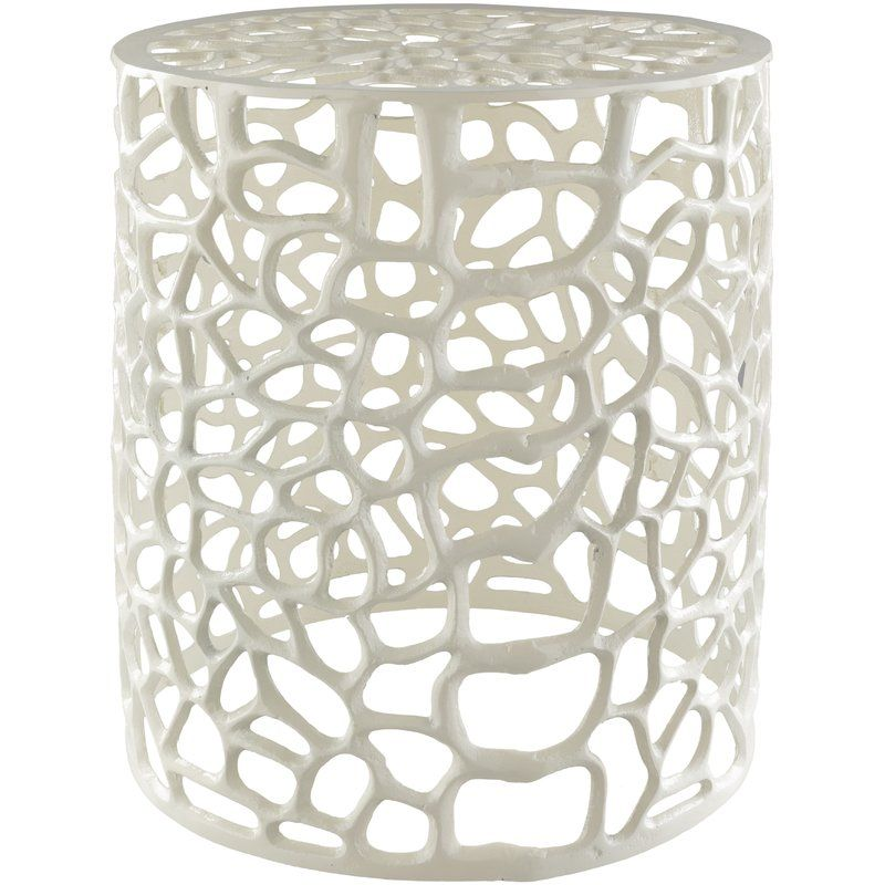 Ziolkowski Accent Stool Metal Stool White Accent Table