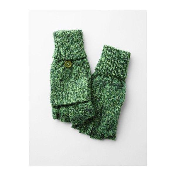 Knitting Pattern For Fingerless Gloves With Flap : Loris Shoes Fingerless Knit Gloves With Flap found on Polyvore Dream C...