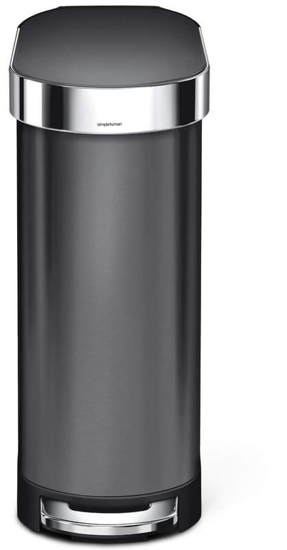 45 Liter Slim Step Stainless Steel Trash Can With Liner Rim