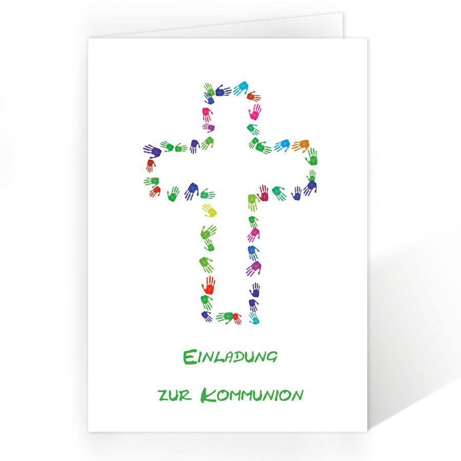 Einladungen erstkommunion mit kreuz aus händen