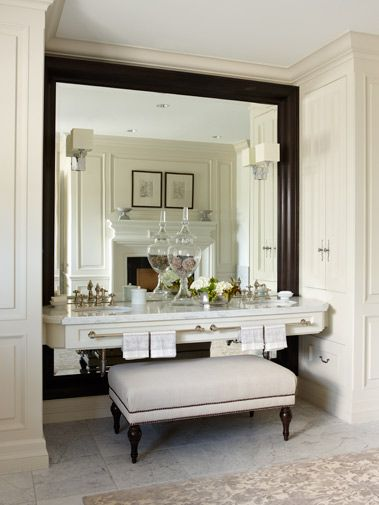 Bathroom - absolutely gorgeous and unique style - love the wall length mirror behind the vanity - beautiful cabinets on the side of the vanity alcove | Architectural Digest