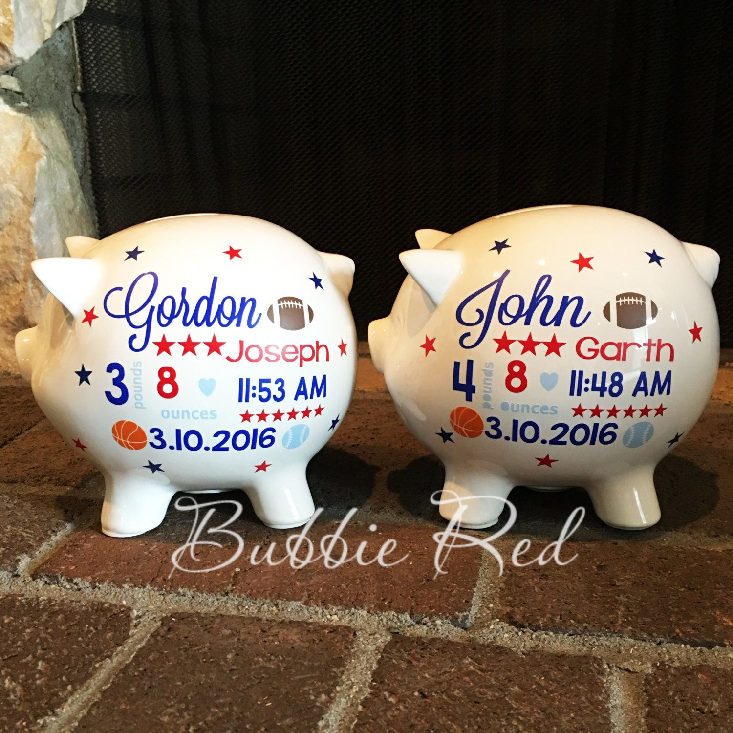 twins personalized piggy banks