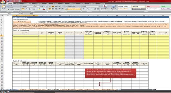 Concrete estimate template is designed to assist in taking for Take off sheet template