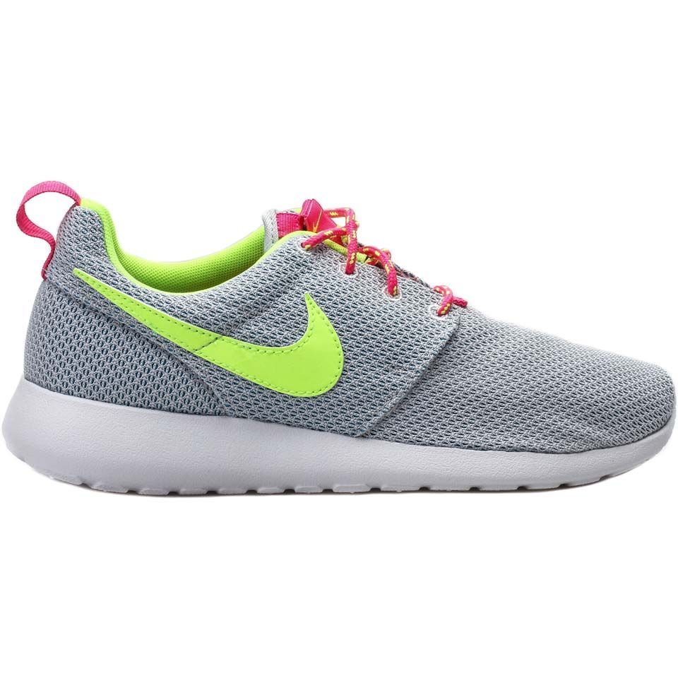 5ffd927c0557 Nike 599729-008 Roshe Run Girls Grade School Kids Running Shoes  (Silver Pink Volt) at Shoe Palace