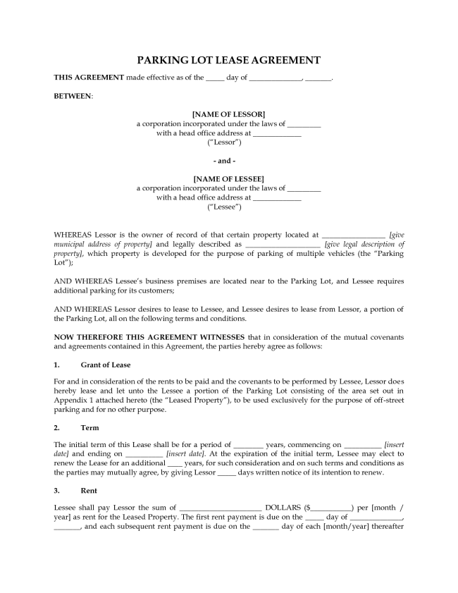 Perfect Lease Agreement Template Sample for Parking Lot with ...