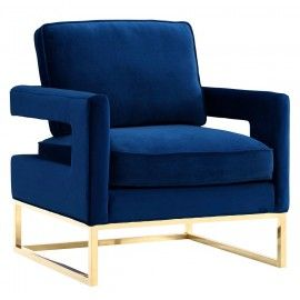 Modern Navy Blue Velvet Gold Legs Lounge Chair Navy Velvet Chair