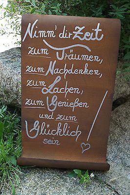 Edelrost Tafel Nimm Dir Zeit Spruch Garten Metall Rost Schild Geschenk Deko Ebay Spruche Garten Geschenk Deko Geschenk Garten