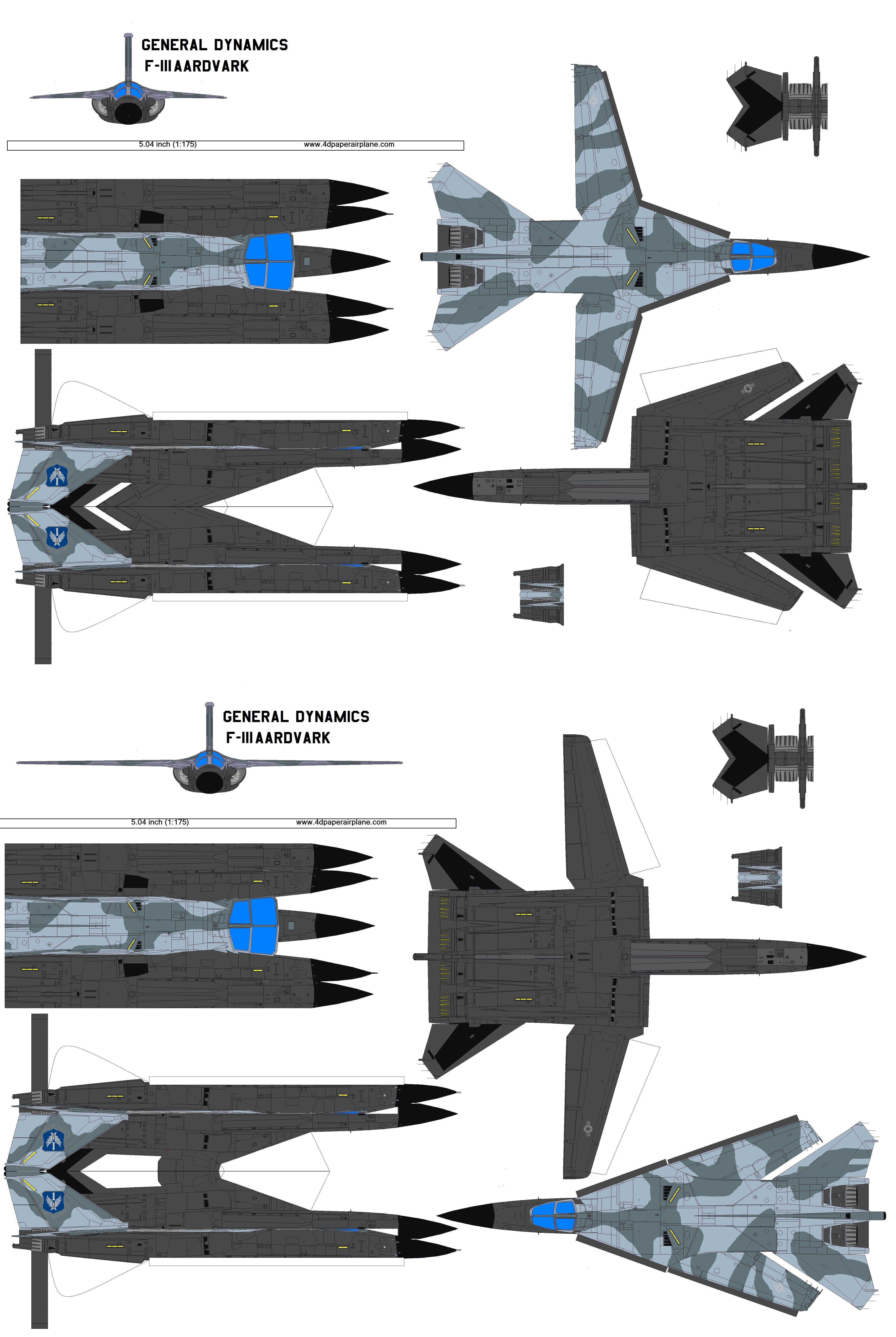 4D model template of General Dynamics F111 Aardverk. (3