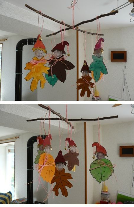 Mobile lutins feuilles complet autumn fall crafts - Mobile noel maternelle ...