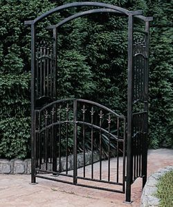 Black Metal Arbors Iron Arbor With Gate Oh This Would Match The Fencing We Bought Tonight Install Between Two Houses