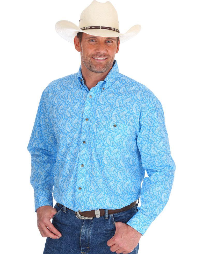 88fd13fe7 George Strait by Wrangler Men's Blue Printed Long Sleeve Western Shirt ,  Blue