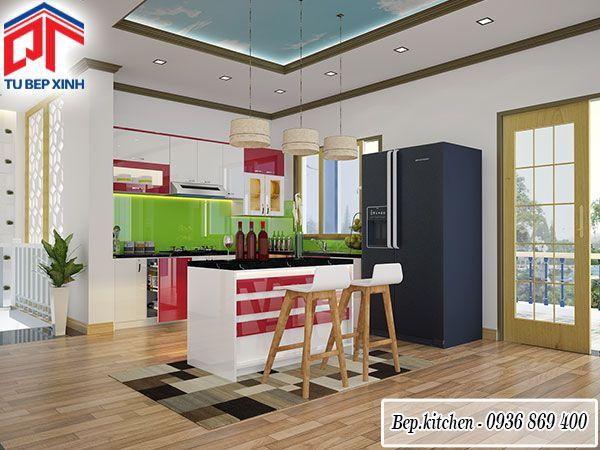 Tủ bếp đẹp có đảo bếp đa năng gam trắng đỏ KC215| Bếp gỗ đẹp