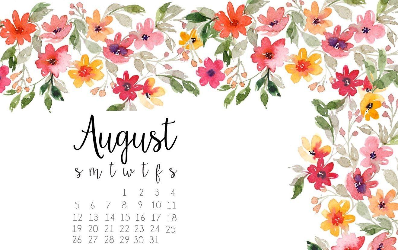 Cute August 2018 Calendar Floral Border For Facebook Cover Mac