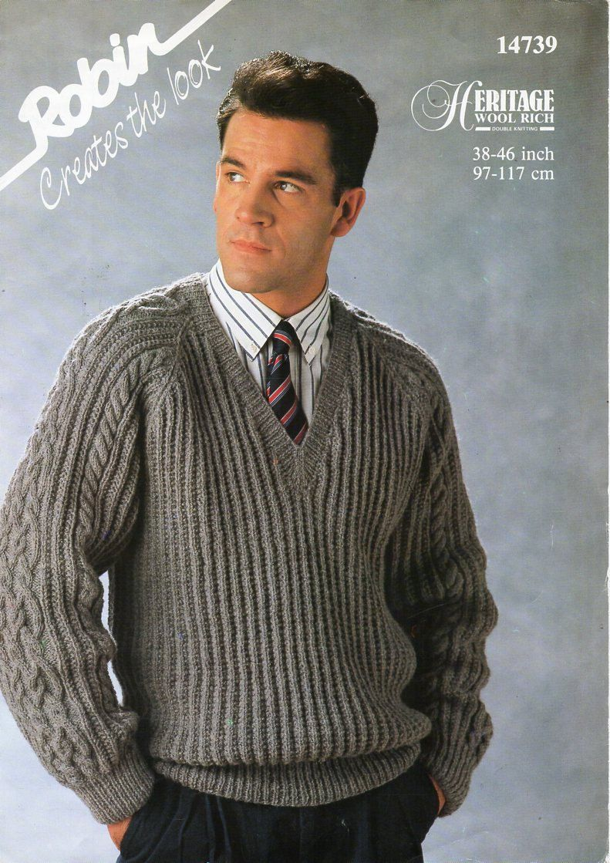 Vintage mens rib cable sweater knitting pattern pdf DK ...