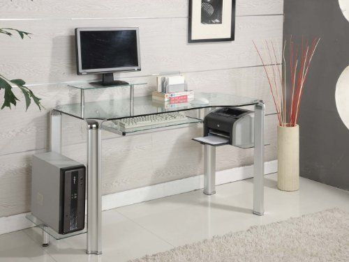 Innovex Clear Glass Computer Desk By Innovex 360 00