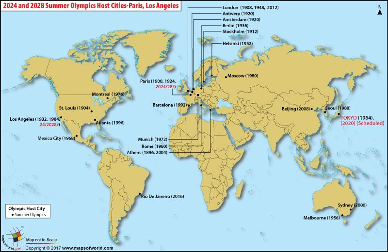 Paris And Los Angeles Set To Host Olympics In 2024 And 2028 News Events Paris Losangeles Olympics Map Olympics Winter Olympic Games