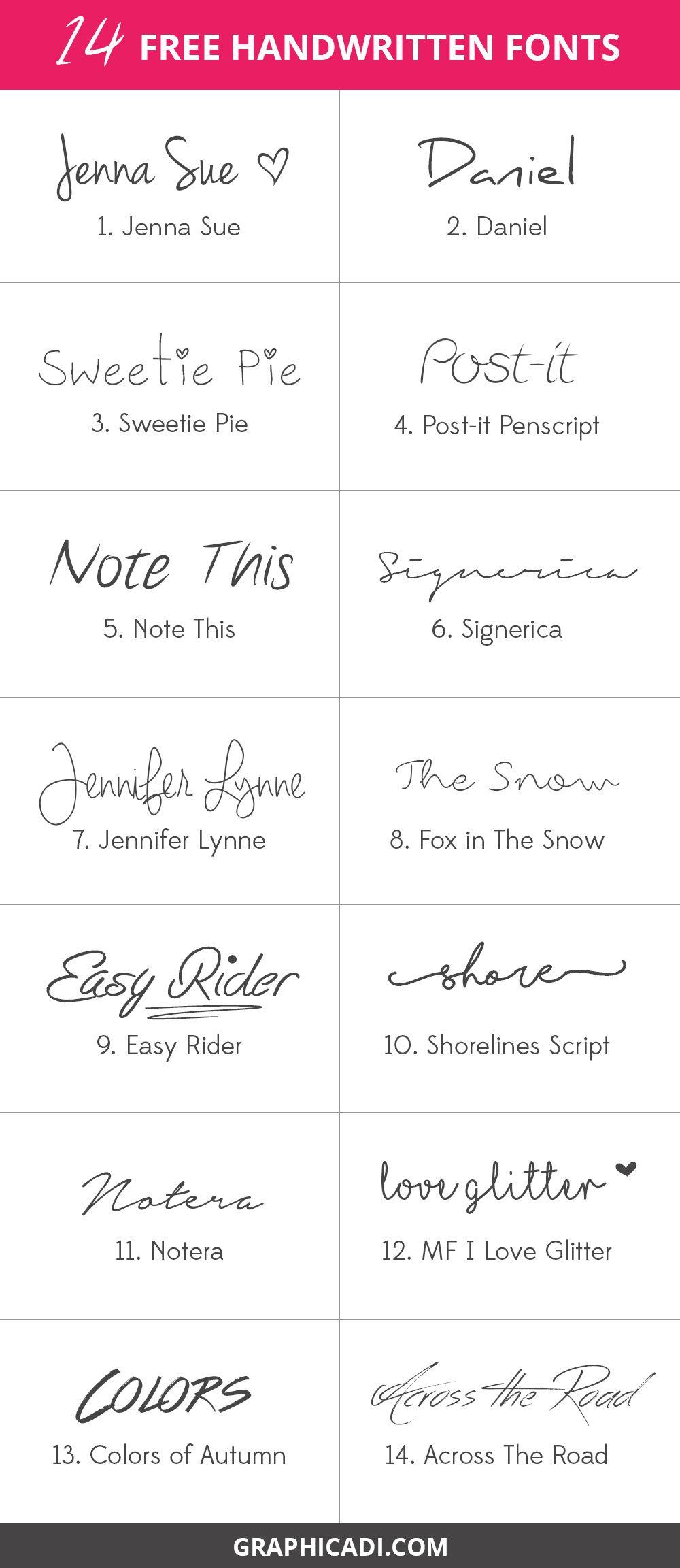14 Free Handwritten Fonts - Graphicadi