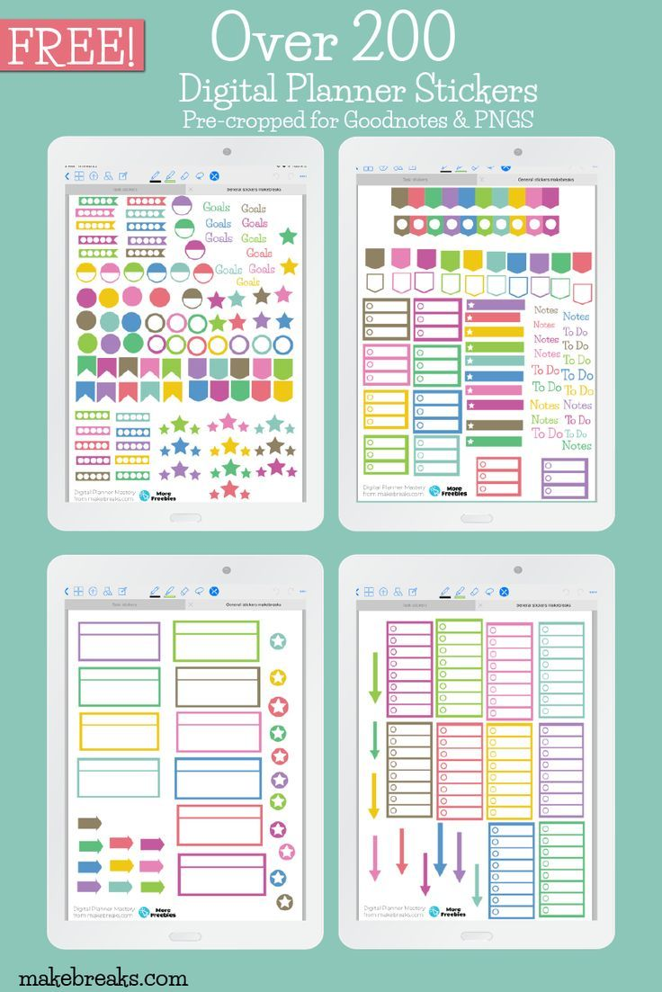Free General Digital Stickers For Goodnotes & Digital Planners - Make Breaks