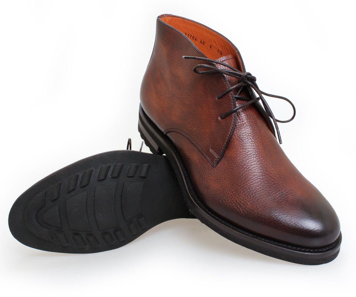 d5812175fc6 Brown Deerskin Chukka Boots   Santoni Shoes   Shoes   Boots, Shoes ...