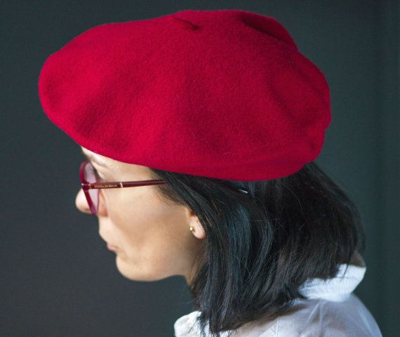 Vintage Red Beret from Kangol Red Felt Wool Anglo by 4Rooms  caa46503496c