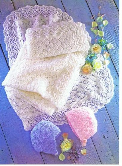 Baby Knitting Pattern For Vintage Style Baby Shawl And Bonnet