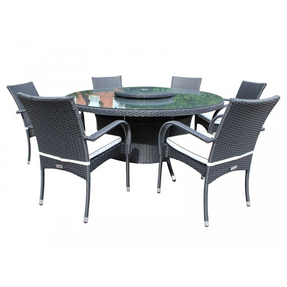 6 Roma Chairs and Large Round Table and Lazy Susan Set - Black and ...