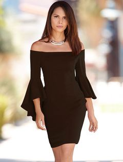 d8b108248ef9 Black Bodycon Dress Off The Shoulder Ruffle 3 4 Length Sleeve Slim Fit  Sheath Dress