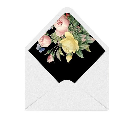 Watercolor Rose Envelope Liner  The Wedding Invitation