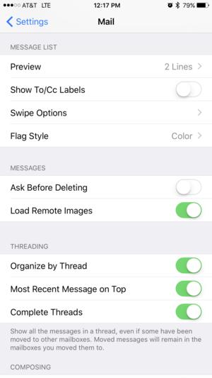 Ios 10 Mail Settings Ios 10 Thread Organization Mailing