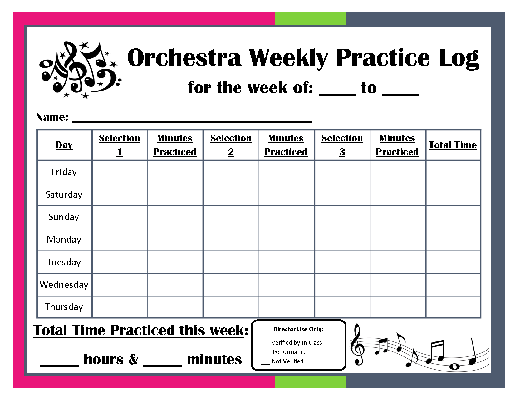 Orchestra Weekly Practice Log