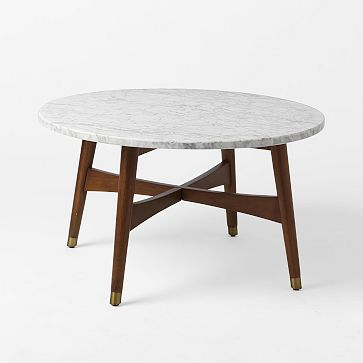 Reeve Mid-Century Coffee Table, Marble/Walnut