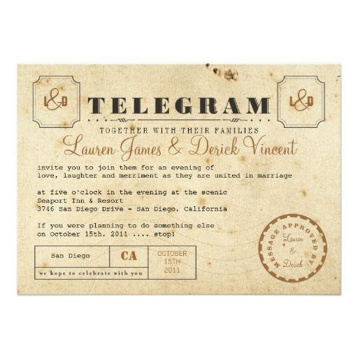 Montreal Wedding Invitations: Vintage Telegram Invitation Postcard