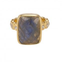 Mia Ring Gold Labradorite White CZ