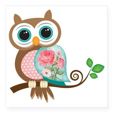 Vintage owl square sticker x