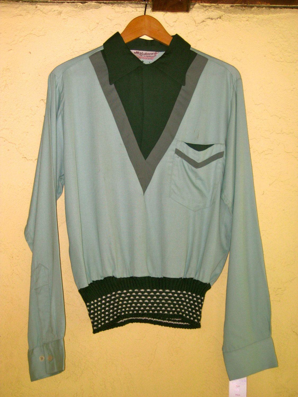 1950s Green Paneled Gaucho Shirt Gabardine Dead Stock M VLV Mens by Cavemanteeks on Etsy https://www.etsy.com/listing/178527654/1950s-green-paneled-gaucho-shirt