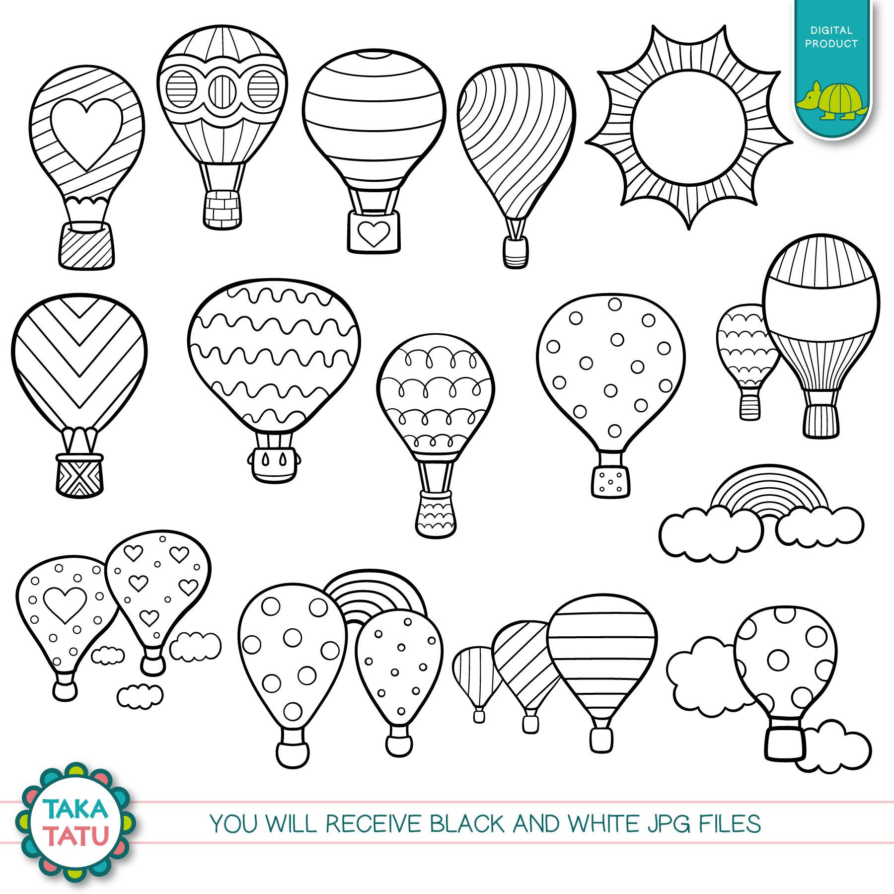 45+ Hot Air Balloon Black And White Clipart