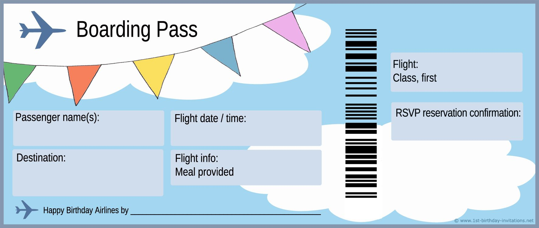 image relating to Free Printable Airline Ticket Template called Airplane ticket and boarding p for very first birthday occasion