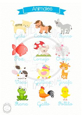 Fichas infantiles para aprender los animales