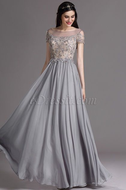Illusion Neckline Exquisute Embroidery With Beading Elegant Gray Color Prom Party Dress Evening Wear