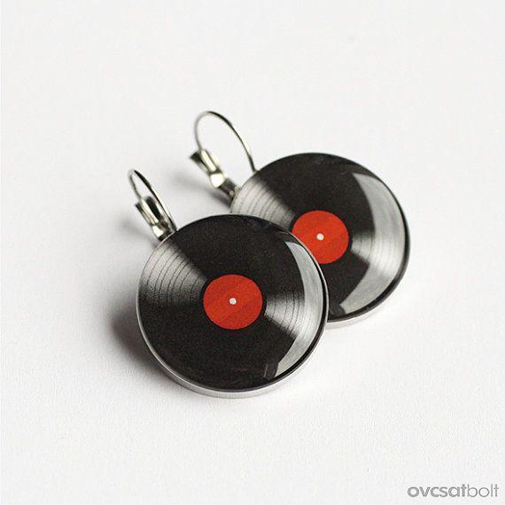 Vinyl Record earrings surgical steel earrings LP by myBeltBuckle