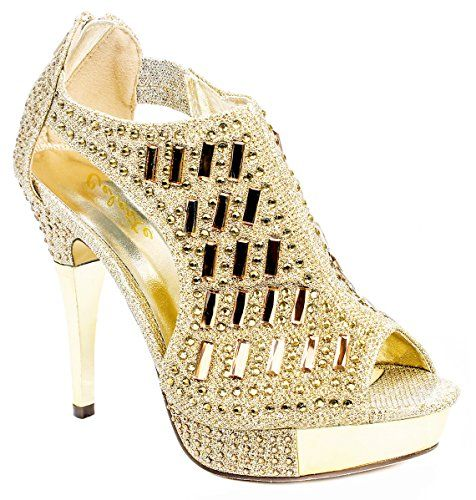 76136b5f19a1 Anastasia04 Gold Glitter Crystal Rhinestone Peep Toe Platform High Heel  Evening Dress Bootie Sandals-5.5